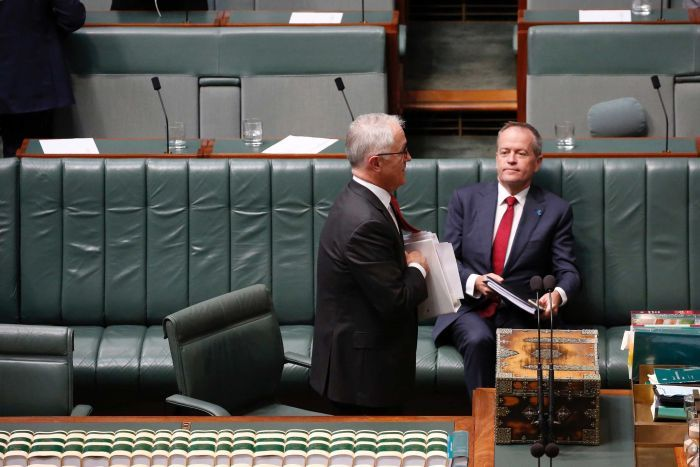 Shorten is sitting on the government benches, looking at Turnbull has he walks by.
