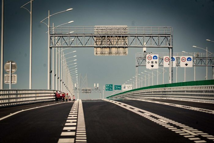 A section of the Hong Kong-Zhuhai-Macao Bridge