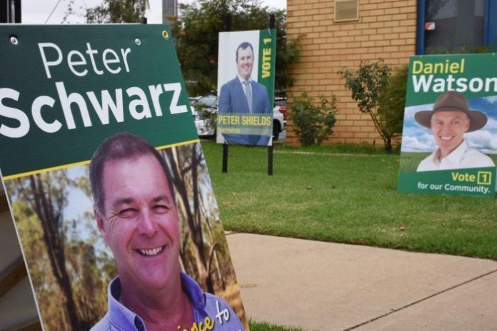 Candidates signs outside a polling station for the Nationals Party's Shepparton community preselection.