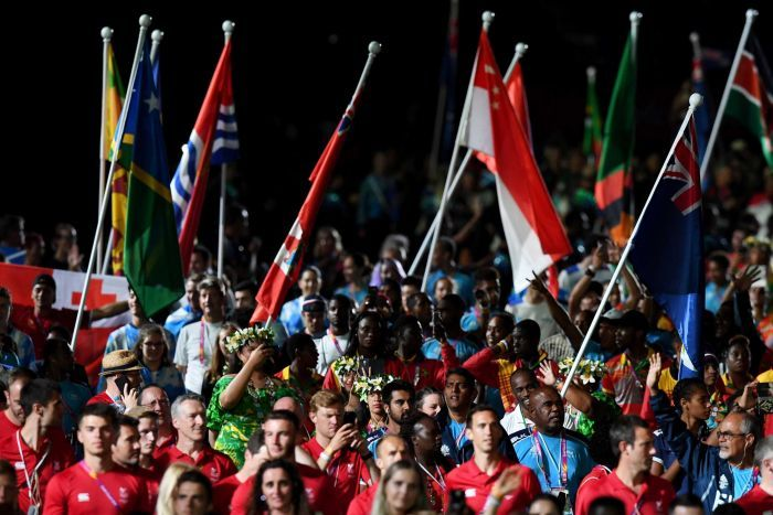 Athletes are seen before the start of the closing ceremony of the XXI Commonwealth Games on the Gold Coast.