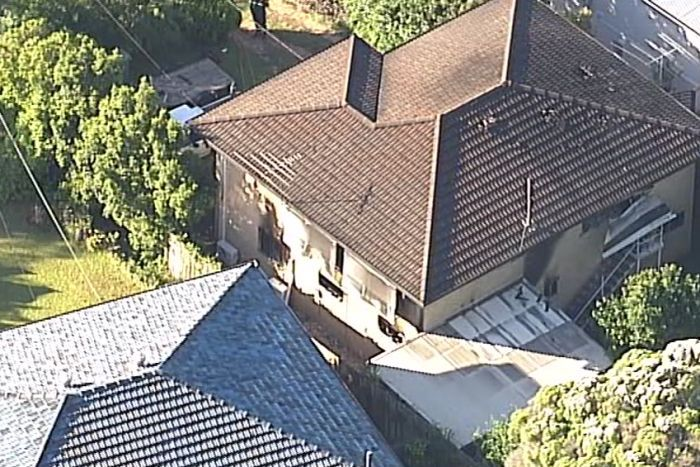 Aerial photo of a Pavonia Street home in Everton Hills which has been gutted by fire.