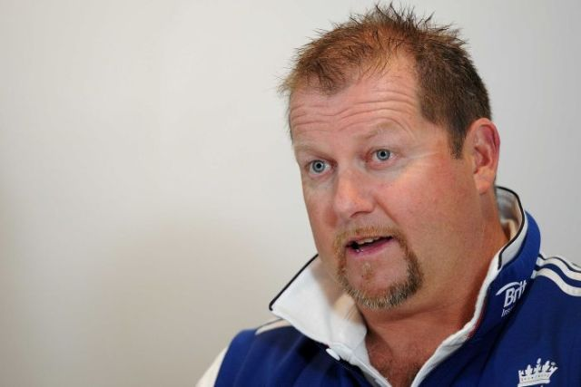 England's bowling coach David Saker speaks to the media in Brisbane on November 17, 2013.
