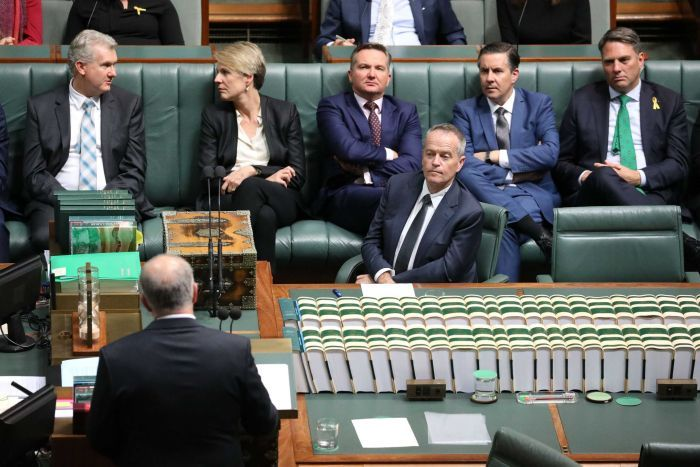 The Labor frontbench reacts to Scott Morrison's budget speech.