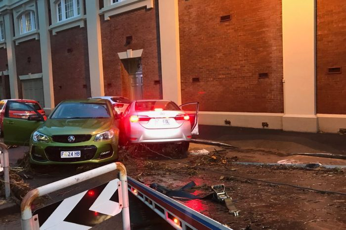 Cars swept away by floods in Hobart