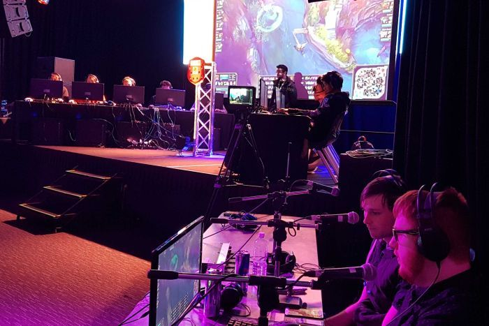 Students competing at a League of Legends tournament.