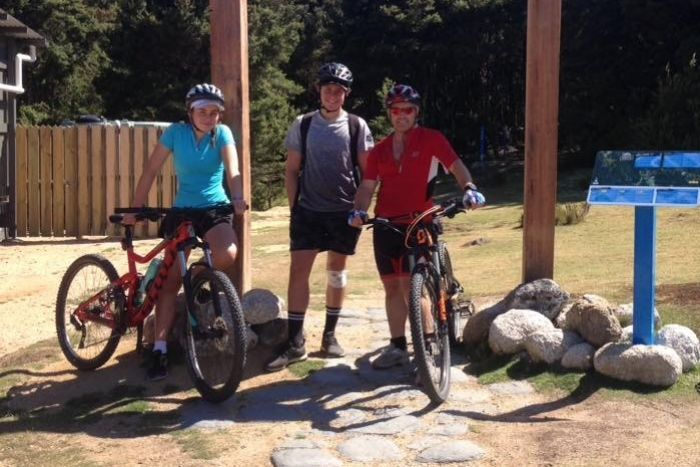Tasmanian Colin Oliver with fellow mountain bike riders.