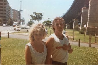 Tony and Sharon Jenkins - an old photo of them as a young couple, near Sydney Harbour Bridge (Millers Point side)