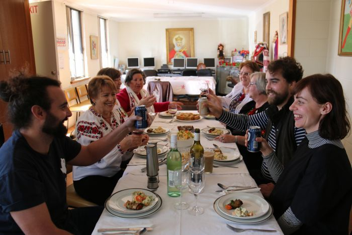 Ukraine table families get together