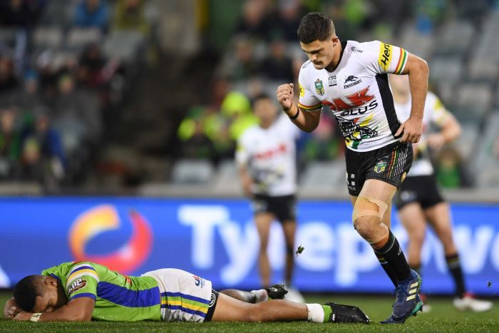Nathan Cleary pumps his fist after kicking the winning field goal against Canberra.