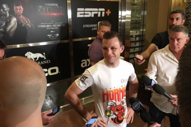 Australian boxer Jeff Horn speaks to the media the morning after his fight with Terence Crawford.