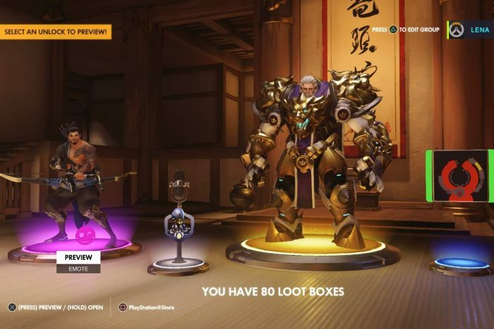Four in-game items, including a new character skin, are displayed after opening a loot box in Overwatch.