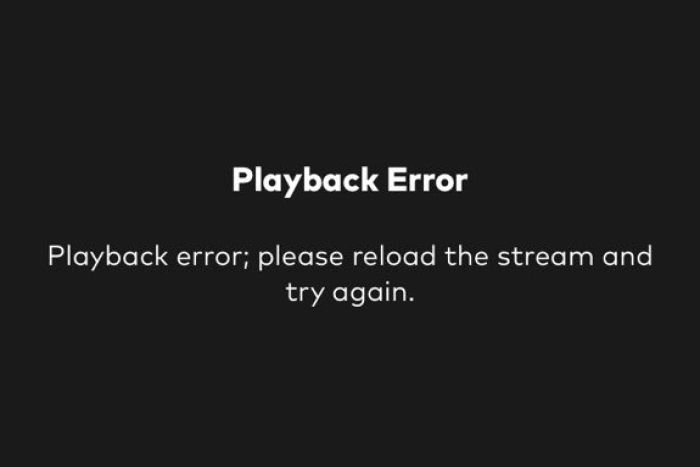 Screenshot of Optus Sport playback error.