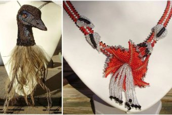 An emu necklace and flower created by Ruth