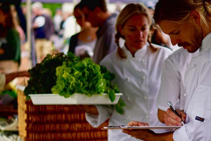 Students at the market taking notes about locally grown produce.