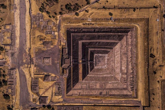 An aerial shot of the pyramids in Mexico City