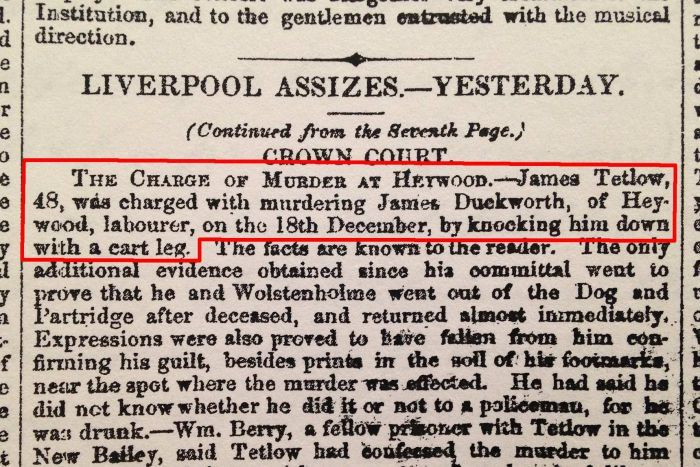 A clipping from an old newspaper about a murder charge.