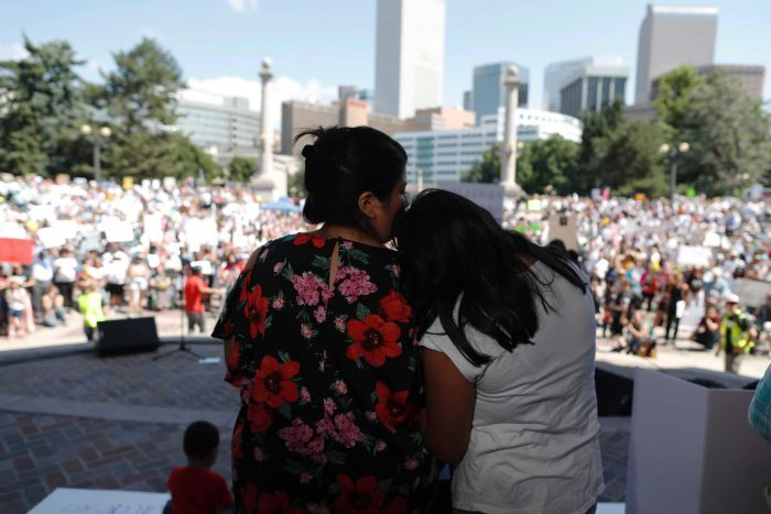Immigration rally and protest in Civic Center Park, Denver