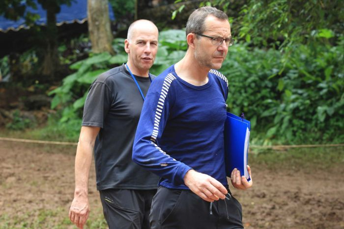 Richard Stanton, left, and John Volanthen arrive in Mae Sai, Chiang Rai province in northern Thailand on July 3, 2018.