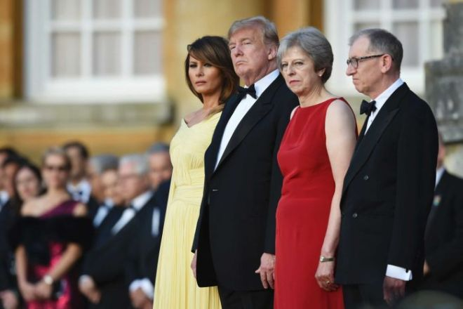 Melania Trump, Donald Trump, Theresa May and her husband Philip at Blenheim Palace