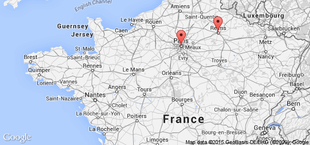 A map showing the location of the anti-terror raids in Reims in France.