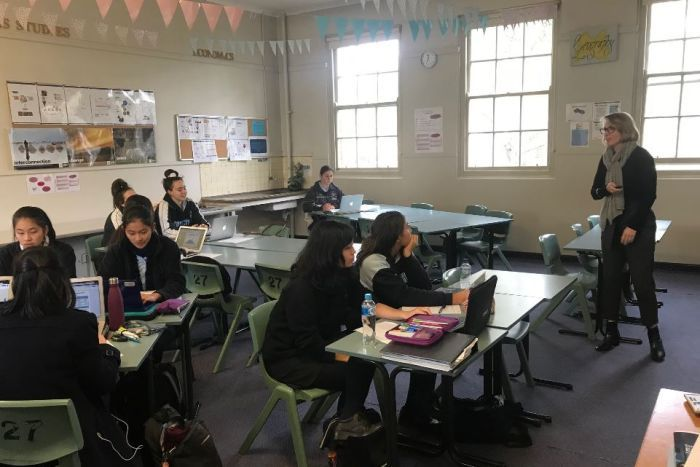 Lisa Edwards' economics classroom at Riverside Girls High in Sydney