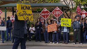 Workers outside Royal Perth Hospital.