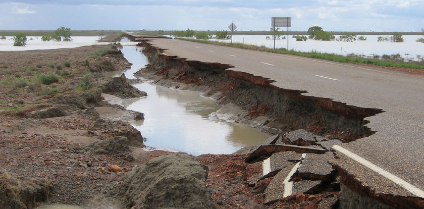 A stretch of the Barkly Highway damage cutting off transport from Queensland to Northern Territory