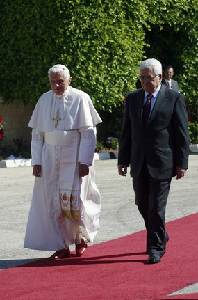 Pope Benedict was met by Palestinian President Mahmoud Abbas on his arrival in Bethlehem.