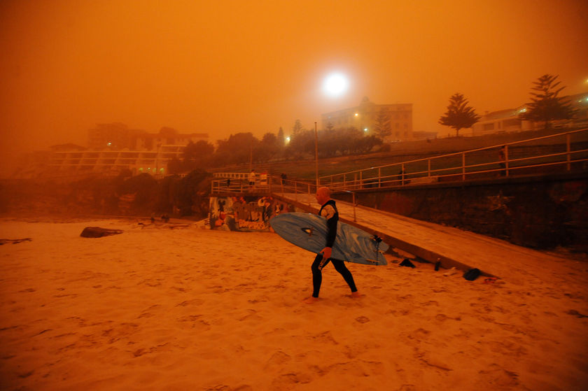 A surfer heads for the water at Bondi Beach. (AAP: Tracey Nearmy)