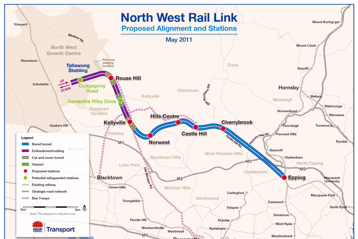 Northwest Rail Link alignment