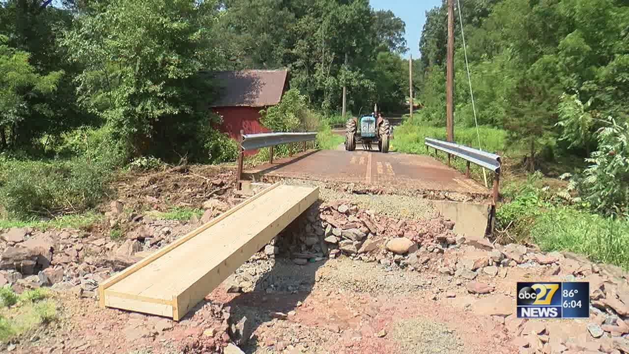 Broken bridge blocks families from driving to their homes