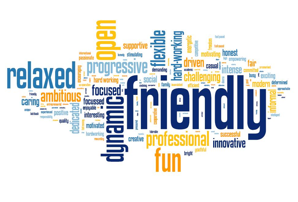 company culture word cloud friendly relaxed dynamic open