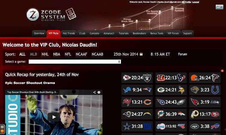 Copie d'écran de la page VIP Picks de ZCode