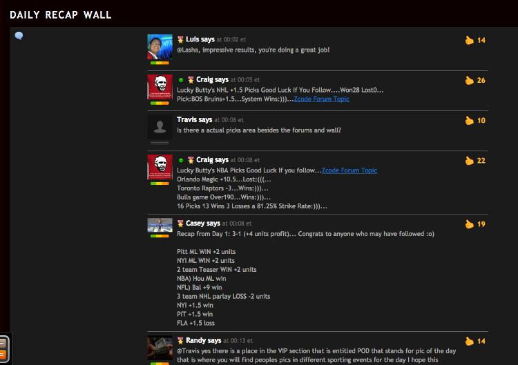 Copie d'écran du Wall de ZCode