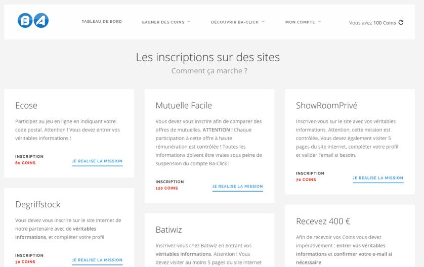 Ba-Click vous permet de gagner de l'argent en vous inscrivant à des sites