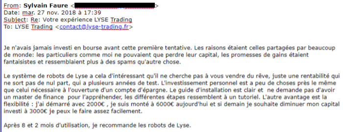 robot de trading témoignage Syvain