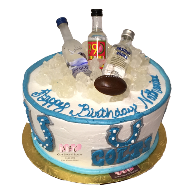 1829 Colts Football Cake Topped With Mini Vodka ABC