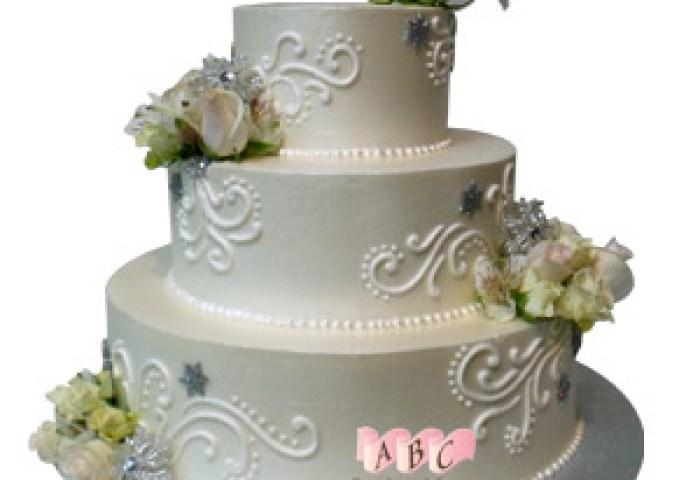 2222 3 Tier Round Wedding Cake With Roses Abc Cake Shop Bakery