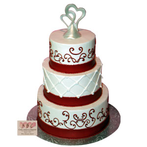 2279  3 Tier Red   White Wedding   ABC Cake Shop   Bakery  2279  3 Tier Red   White Wedding