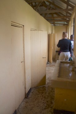 Inside the toilet block