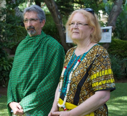 Frank and Lynn with traditional garb