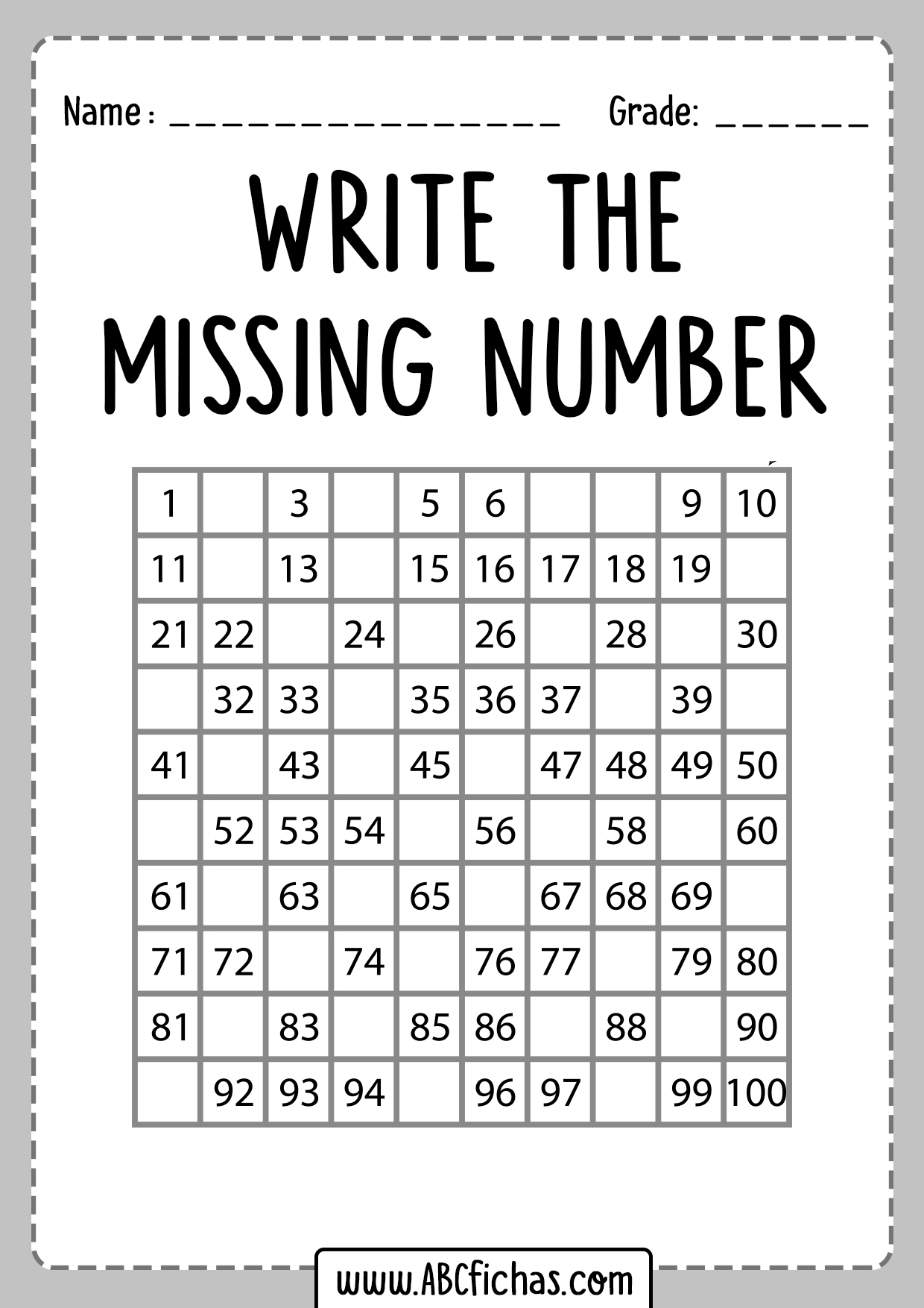 Find The Missing Numbers Worksheet