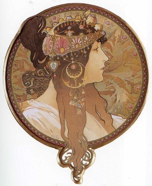 Alphonse Mucha. Byzantine Head: The Brunette.