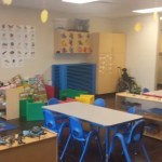 The pre-K room mimics what a real kindergarten classroom is like so your kids can be ready for school.