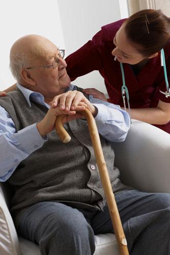 Senior Man with ABC Caregiver