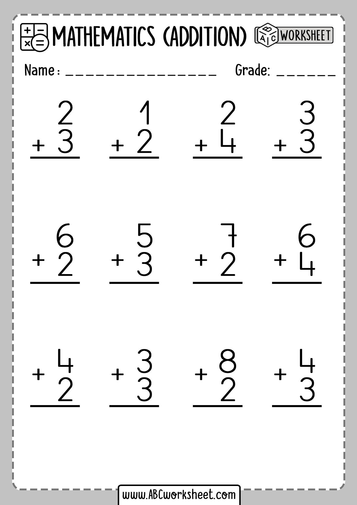 Addition 1 Digit Number Worksheets