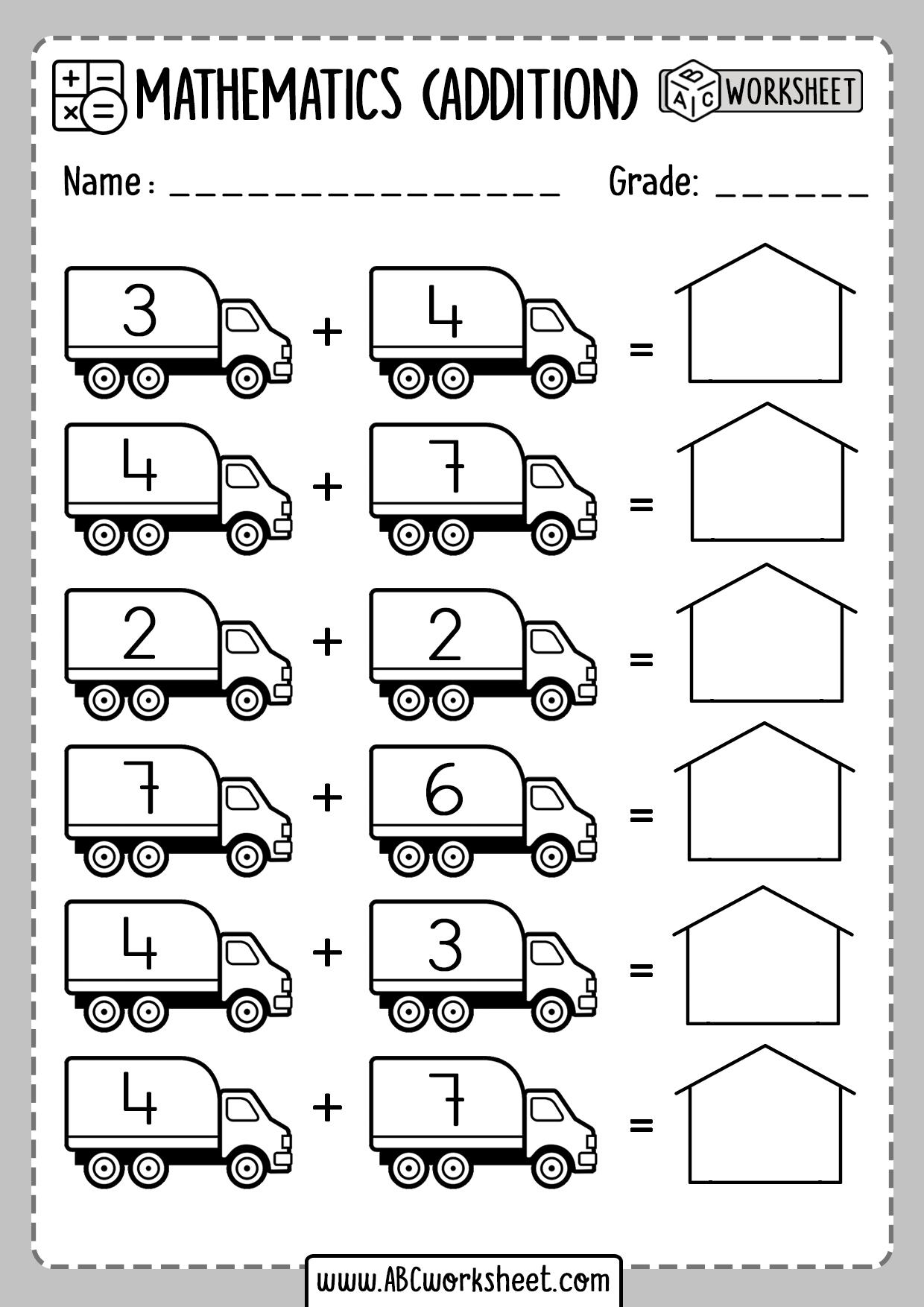 Simple Addition Worksheets For Kindergarten