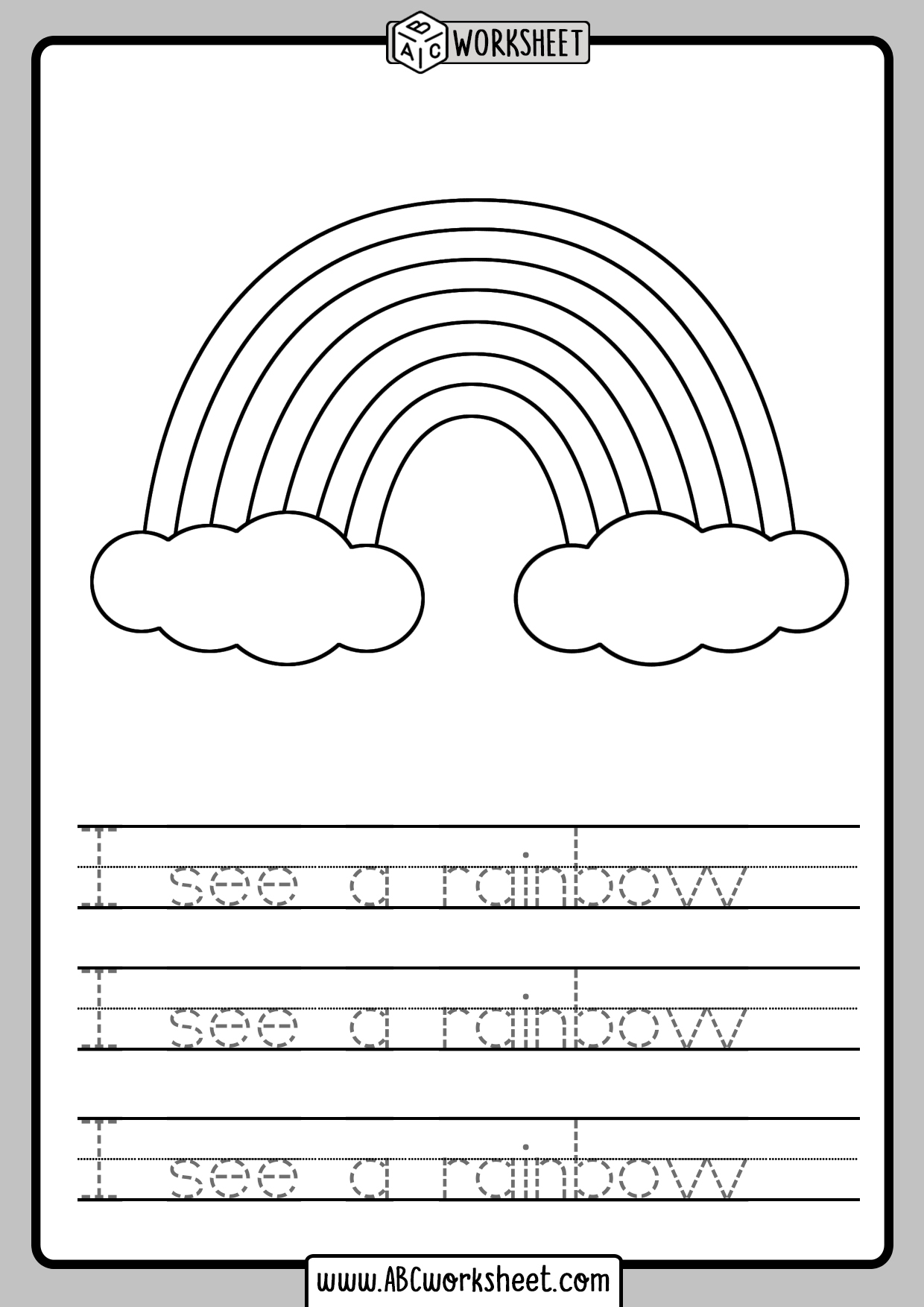 Color And Trace Sentences Worksheets