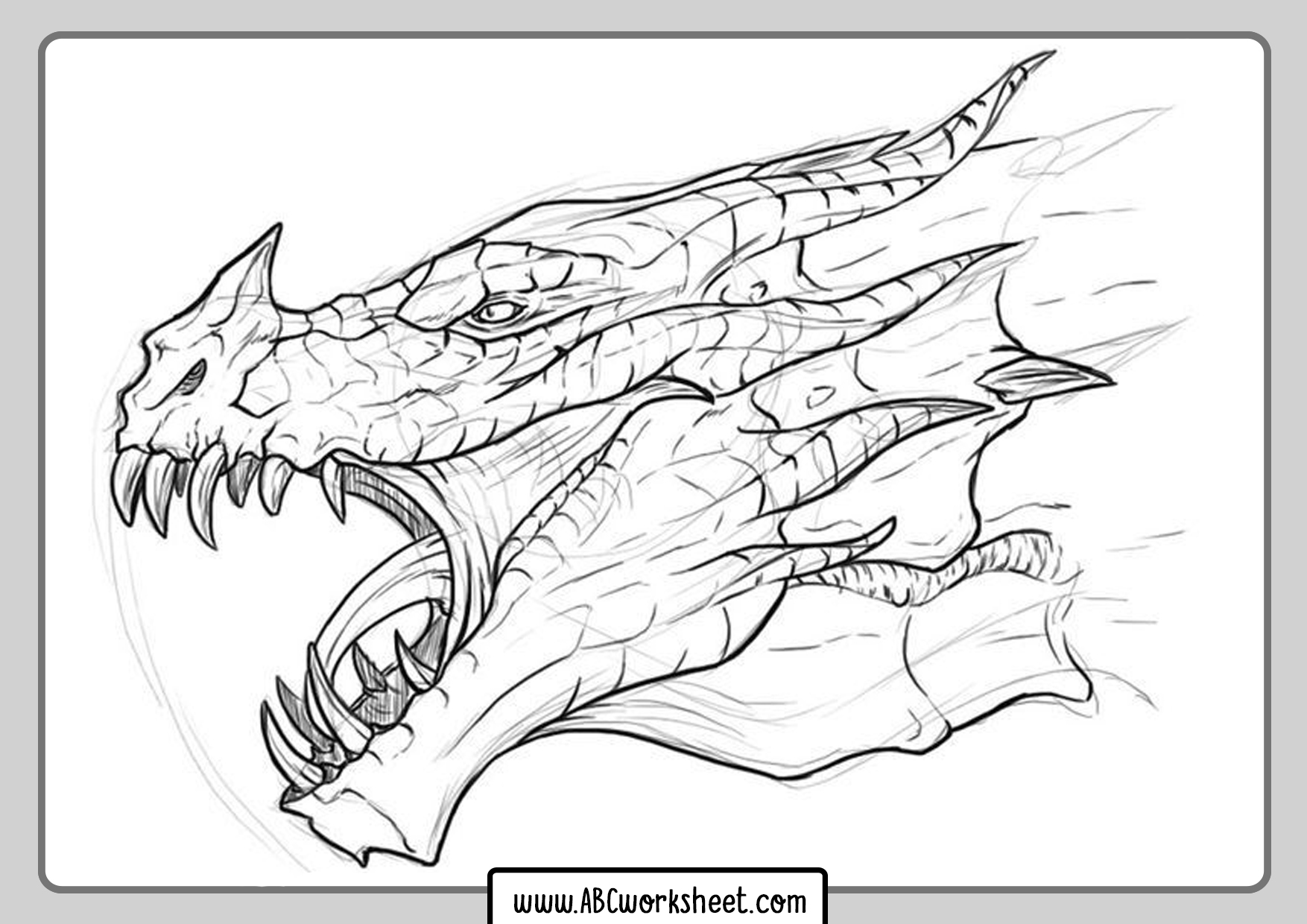 Dragon Head For Coloring