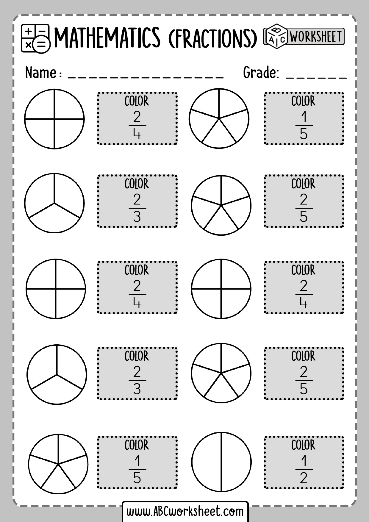 Color Fractions Worksheets
